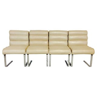 "Pace Collection ""Lugano"" Leather & Chrome Chairs - Set of 4"