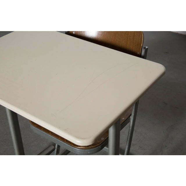 Retro Industrial School Desk and Chair Set - Image 8 of 11