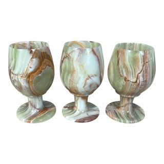 Onyx Carved Goblets - Set of 3