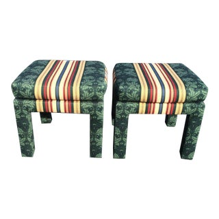 Square Upholstered Parsons Stools - A Pair