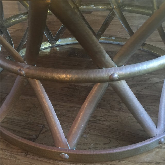 Mid-Century Hammered Brass Coffee Table - Image 5 of 8