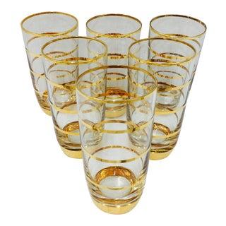 Vintage Gold Foil Glasses - Set of 6
