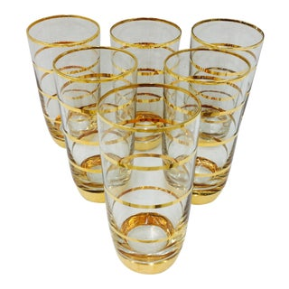Vintage Gold Foil Glasses - Set of 6