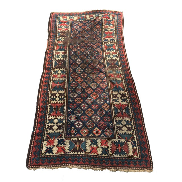 "Antique Russian Kazak Runner - 3'4"" X 7' - Image 1 of 7"