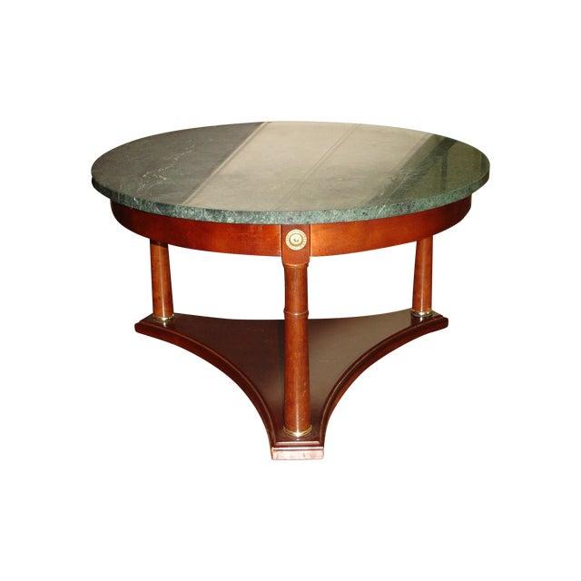 Marble Coffee Table Wood Legs: Vintage Green Marble Top & Mahogany Coffee Table