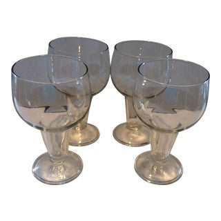 Mid-Century Hollow Stem Crystal Lager Glasses - Set of 4