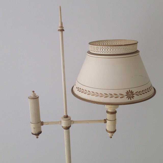 Off-White Tole Floor Lamp - Image 4 of 11