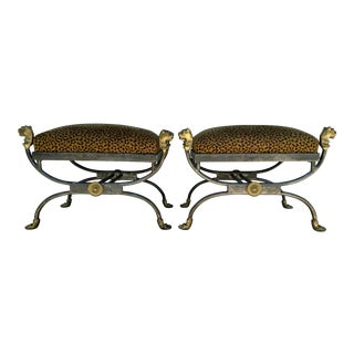 Vintage Brass & Iron Lion Head Stools - A Pair