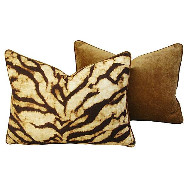 Schumacher Tiger Linen & Velvet Pillows - A Pair - Image 3 of 7