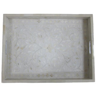Bone Inlay Floral Serving Tray