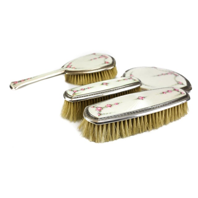 R. Blackinton Company Sterling Silver & Guilloche Enamel Vanity Collection - Set of 4 - Image 4 of 7