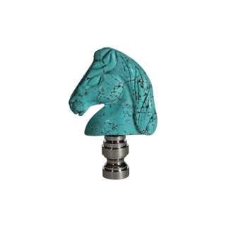 Turquoise & Silver Horse Head Lamp Finial