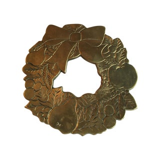 Vintage Brass Christmas Wreath Trivet