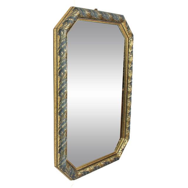 Image of 1970s Vintage Black & Gold Octagonal Hall Mirror