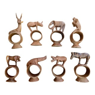 Carved African Napkin Rings - Set of 8