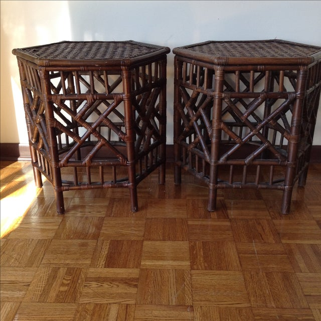 Rattan Chinese Chippendale Fretwork Tables - Pair - Image 5 of 8