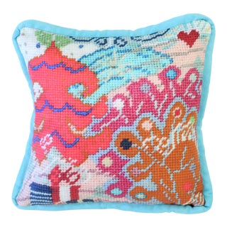 Printed Needlepoint Holiday Pillow, Handcrafted