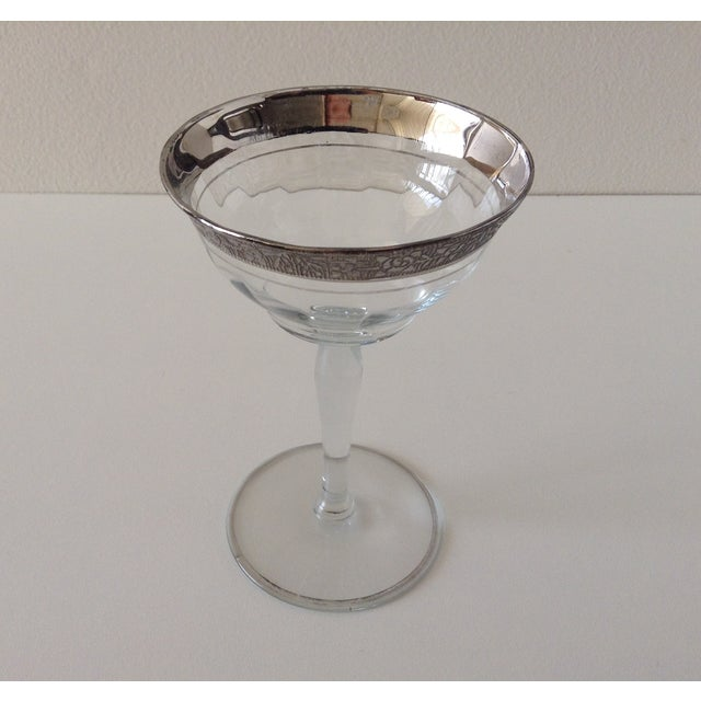 Image of Sterling Floral Etched Cut Champagne Coupes- Set of 6