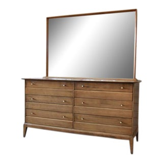 1957 Vintage Heywood Wakefield Mid-Century Cadence 6 Drawer Dresser & Mirror