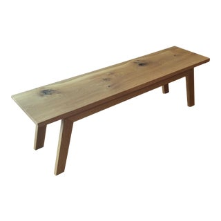 Handcrafted Reclaimed Oak Modern Angled Bench