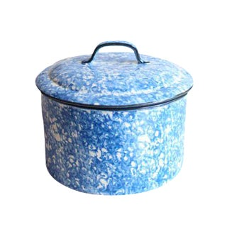 Vintage Stangl Pottery Town and Country Blue and White Spongeware Covered Casserole Baking Dish