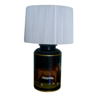 Woolpit Handpainted Leopard Tea Canister Lamp
