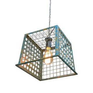 Vintage Antique Industrial Style Basket Light-Blue