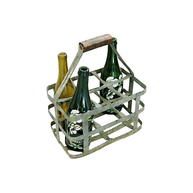 Antique French Zinc 6-Bottle Carrier - Image 2 of 6