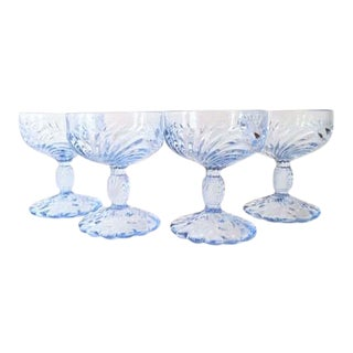 Cambridge Blue Champagne Coupes - Set of 4