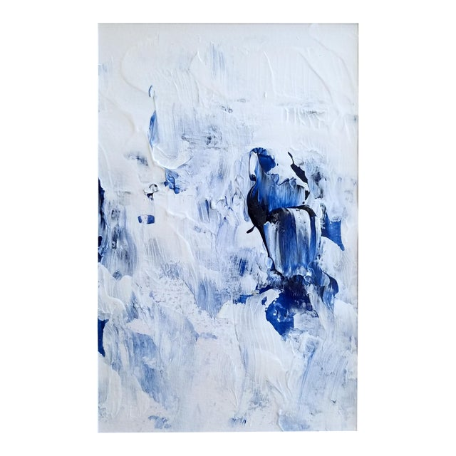 Bubble Bath Modern Abstract Blue & White Original Painting - Image 1 of 3