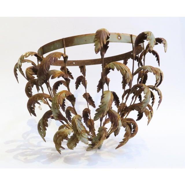 Image of Vintage Metal Leaf Chandelier Frame