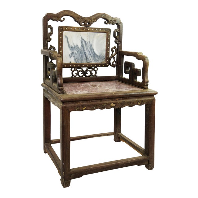 Antique Chinese Marble & Carved Rosewood Chair - Image 1 of 11 - Antique Chinese Marble & Carved Rosewood Chair Chairish