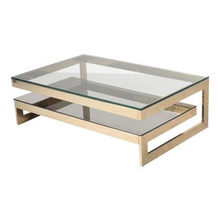 23 Carat Gold Plated Coffee Table by Belgo Chrome, Belgium 1970s
