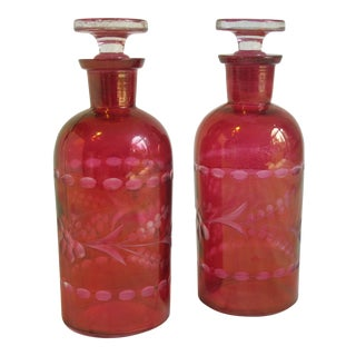 Bohemian Glass Bottles - A Pair