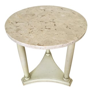 Hollywood Regency Marble Top Side Table