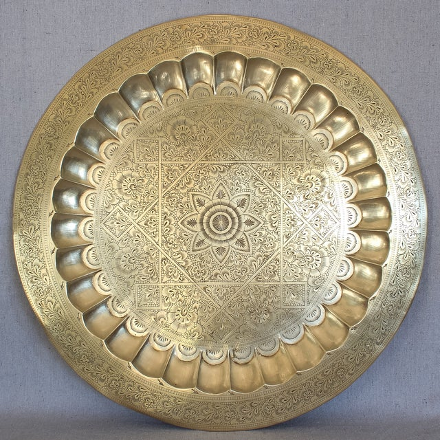 Vintage Persian Engraved Brass Tray - Image 2 of 6