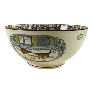 English Transferware With Roosters Serving Bowl