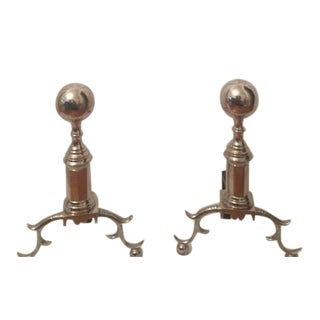 Nickel Plated Andirons - Pair
