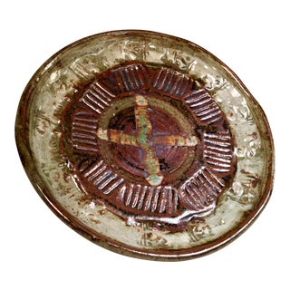 Vintage Terra-Cotta, Cream and Sage Glaze Impressed Design Art Pottery Plate