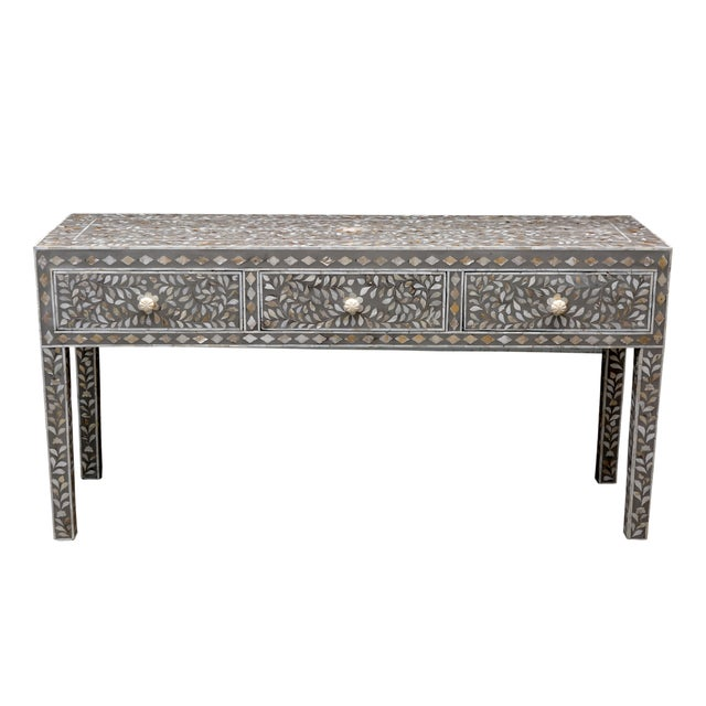 Gray Mother of Pearl Inlay Console - Image 1 of 5