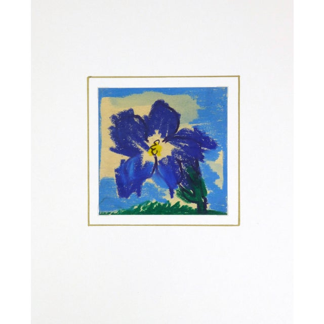 Image of 1970 French Indigo Blossom Drawing