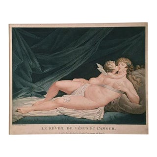 "Antique Fréderic Cazenave ""Venus & Cupid"" Engraving"