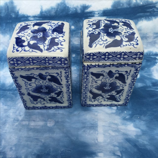 Vintage Chinoiserie Square Ginger Jar - Pair - Image 3 of 7