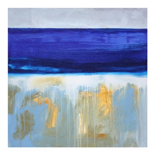 Paul Ashby Abstract Beach Landscape Blue & Golden Yellow Coastal Oil Painting