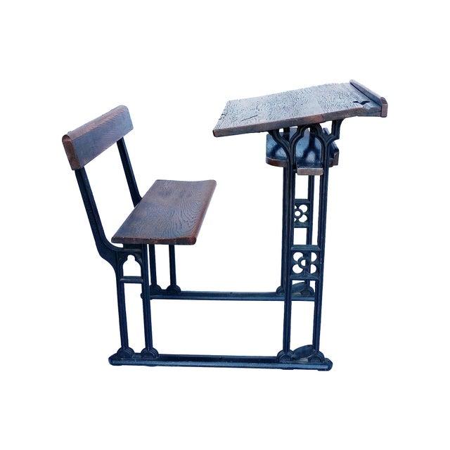 Industrial British Antique Oak & Iron Desk - Image 3 of 6