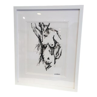Framed Nude Drawing In Black