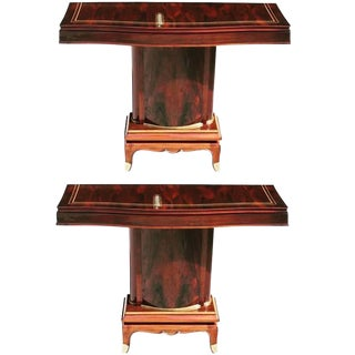 Pair of French Art Deco Palisander Console Tables by Jules Leleu, circa 1930s