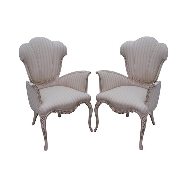 Hollywood Regency Fireside Host Accent Chairs - Image 1 of 10