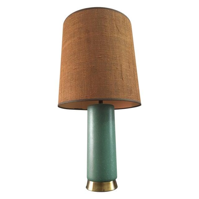 Mid-Century Turquoise Ceramic Table Lamp - Image 1 of 8