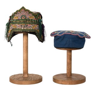 Sarreid Ltd. Antique Hand Embroidered Hats - A Pair